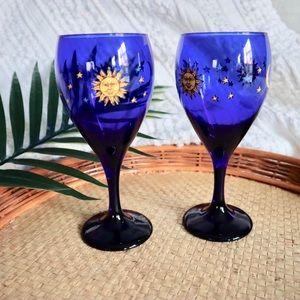 Vintage Astro blue wine glasses
